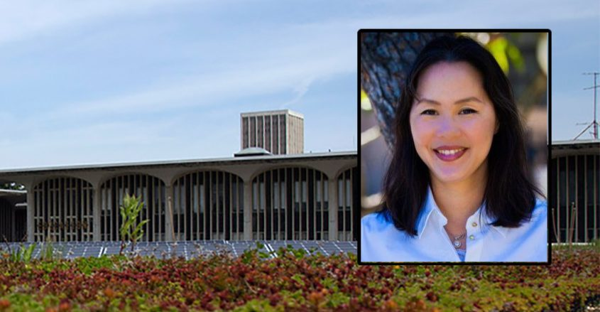 Angie Chung, sociology professor at the state University at Albany (inset) The University at Albany (background)