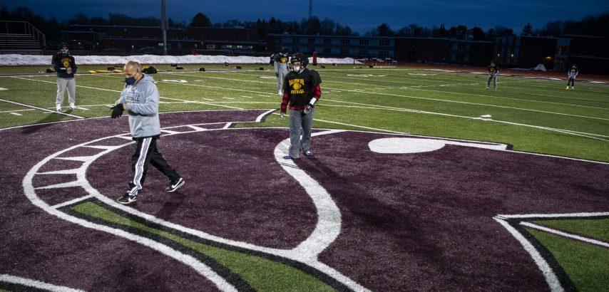 Ballston Spa head coach Greg O'Connor runs practice drills on Centennial Field at Burnt Hills-Ballston Lake High School Tuesday, March 16, 2021.