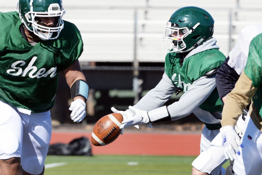 Shenendehowa's quarterback Brody Vincenzi makes a pass during football practice in preparation for first home game against Shaker on Friday at Shenendehowa High School in Clifton Park on Monday, March 15, 2021.
