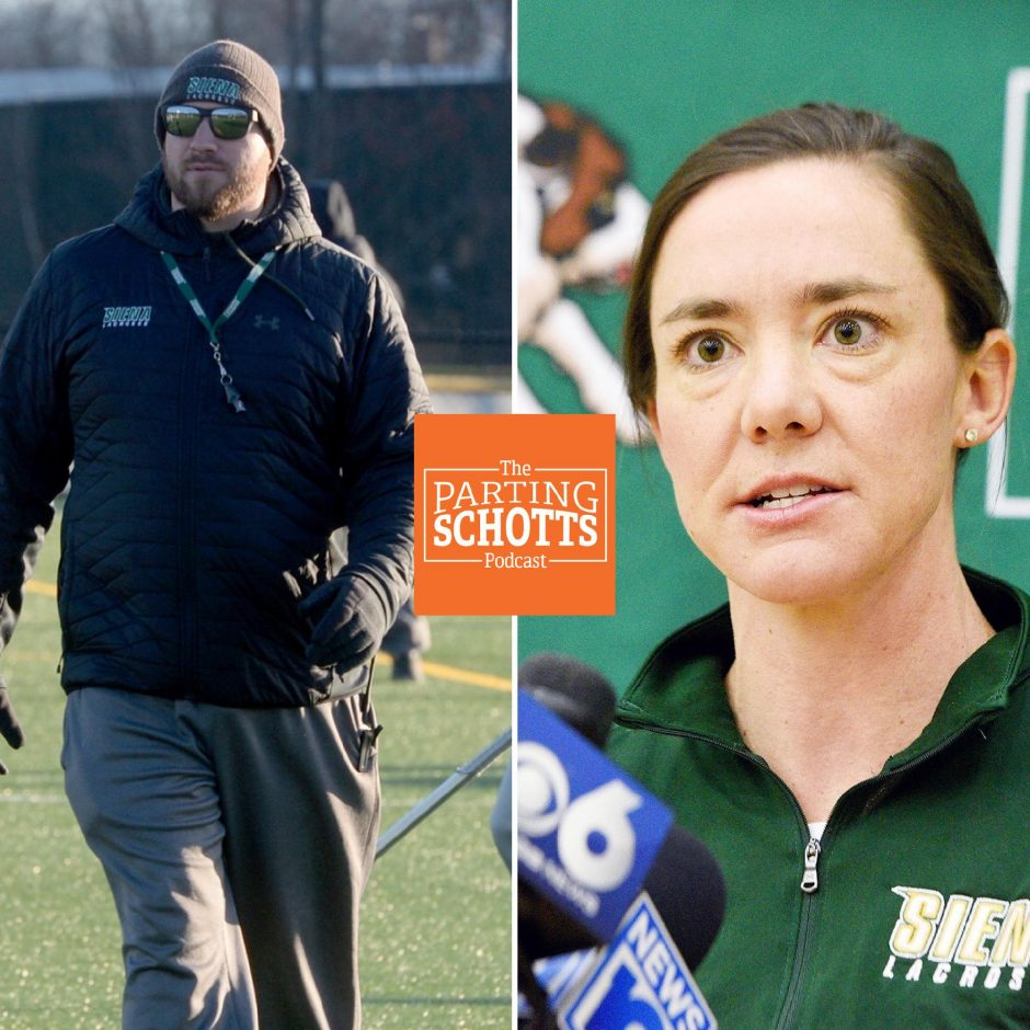 """Siena men's lacrosse head coach Liam Gleason and Saints women's lacrosse head coach Abby Rehfuss are the guest on the this edition of """"The Parting Schotts Podcast."""""""