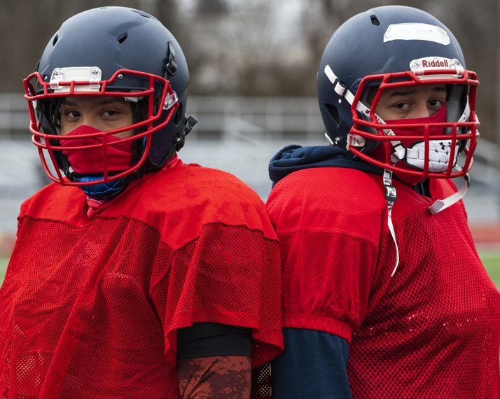 Junior Nino Robinson, left, and sophomore Nik Sanchez are contending for the starting Schenectady quarterback position left open with the graduation of Seven Terry.
