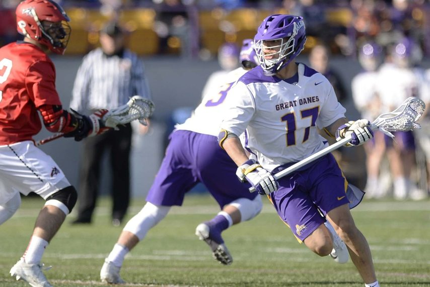 PETER R. BARBER/GAZETTE PHOTOGRAPHER UAlbany's Jakob Patterson (17) missed last week's loss against Vermont, but is expected to play against Binghamton on Saturday.