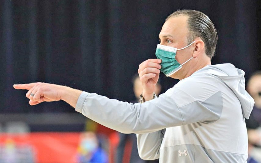 Siena men's basketball head coach Carmen Maciariello is shown during Wednesday's MAAC tournament game in Atlantic City, New Jersey. (Anthony Sorbellini/MAAC Sports)