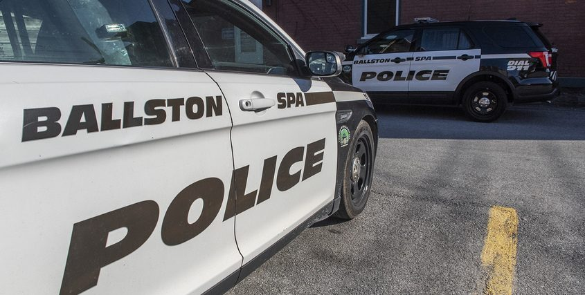 Ballston Spa Police Department cars outside their station on Bath Street in Ballston Spa Friday