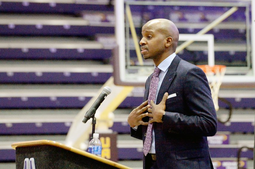 ERICA MILLER/THE DAILY GAZETTE Dwayne Killings was introduced as UAlbany's new men's basketball head coach on Thursday.