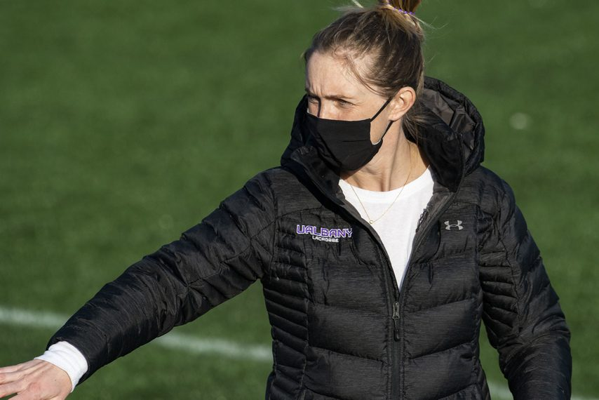 UAlbany women's lacrosse coach Katie Rowan Thomson is shown earlier this month.