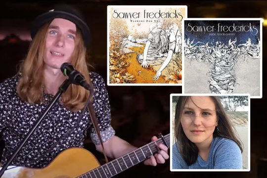 Sawyer Fredericks performs in January in the Palace Sessions series on YouTube. Inset: Artist Nina Pfeiffer and her cover illustrations for Fredericks' two most recent albums. (Inset photos courtesy of Nina Pfeiffer)