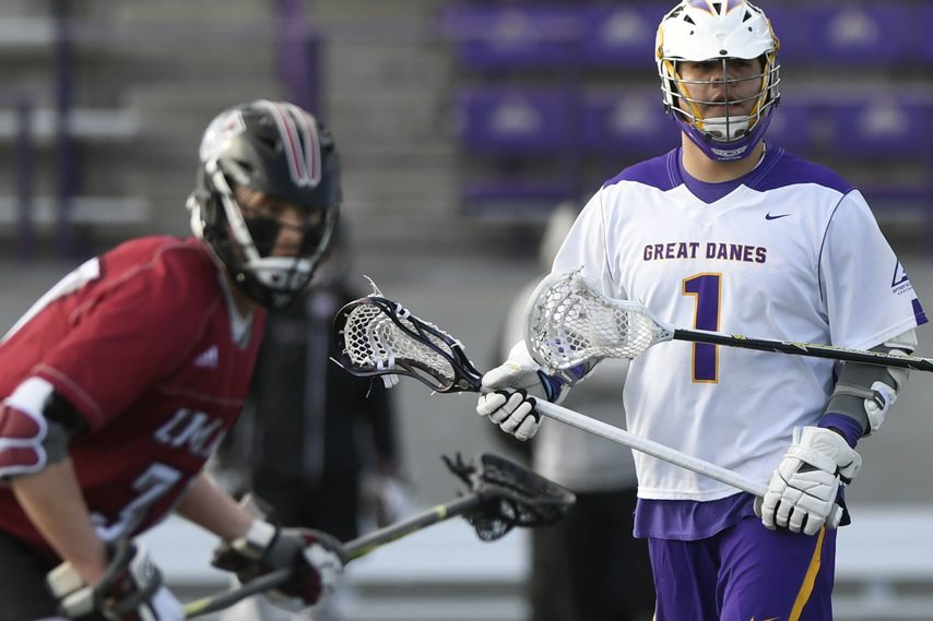 PETER R. BARBER/GAZETTE PHOTOGRAPHER UAlbany's Tehoka Nanticoke (1), shown against UMass on March 5, 2019, has 13 goals against the Minutemen the last three seasons.