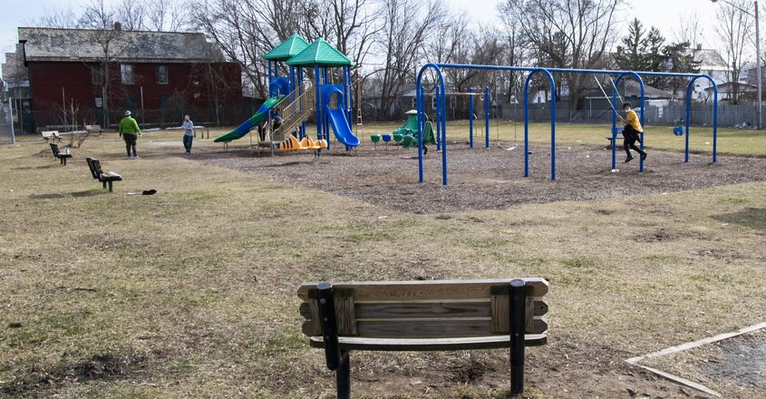 A splash pad is planned for Wallingford Park on Congress Street in Schenectady, pictured here on Tuesday.