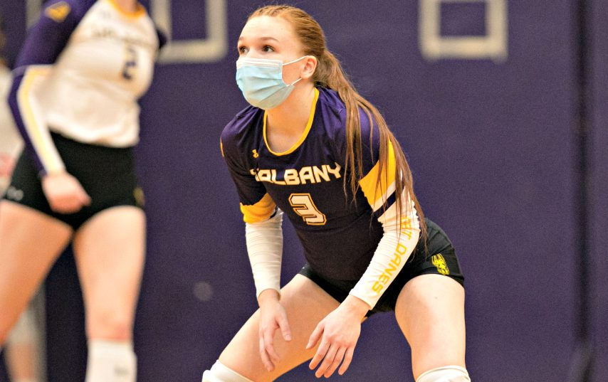 Charlotte Macken is shown during a UAlbany women's volleyball match this season. Macken is a Shenendehowa High School graduate. (Photo courtesy Jay Bendlin/UAlbany Athletics)