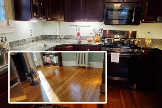 The writer's kitchen floor shines again (inset photo at left) after being refinished for the first time in 17 years. Background photo shows the floor before refinishing. (Caroline Lee photos)