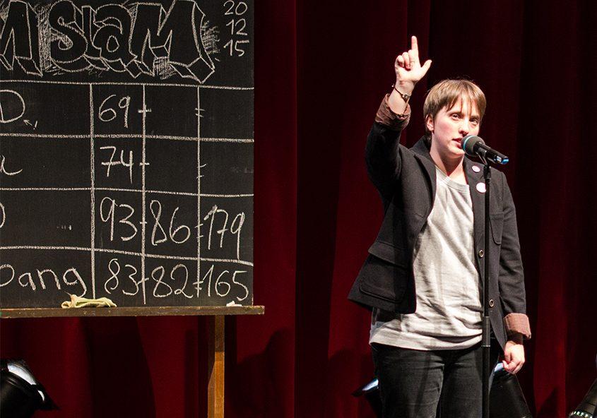 Annika Blanke at a poetry slam. (Matthias Stehr photo)