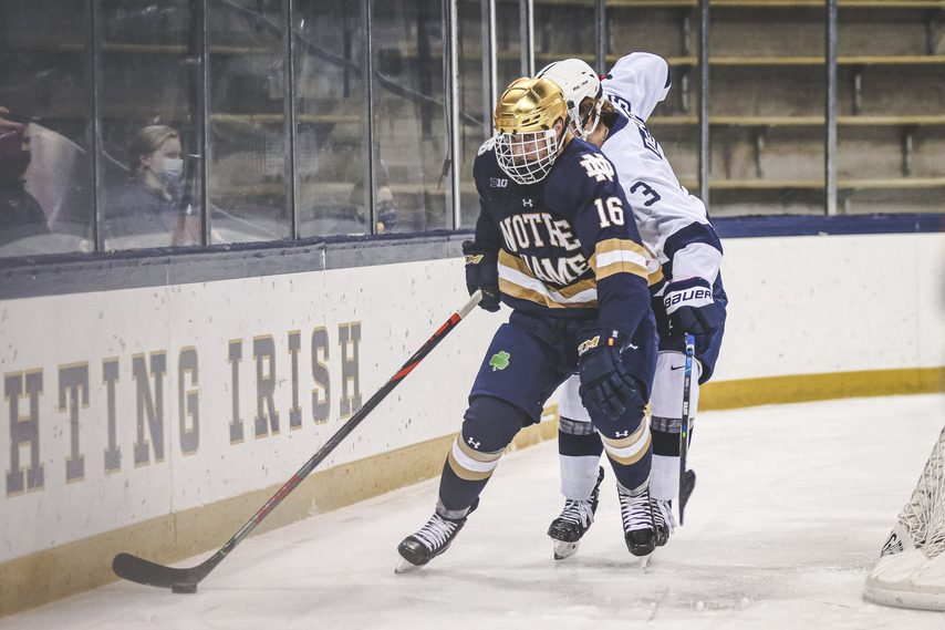 FIGHTING IRISH MEDIA Junior Alex Steeves (16) is Notre Dame's leading scorer this season, with 32 points.