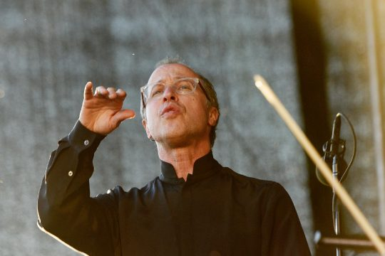ASO Music Director David Alan Miller conducts the symphony as its performs at Mohawk Harbor in Schenectady on June 7, 2019. (Gazette file photo)