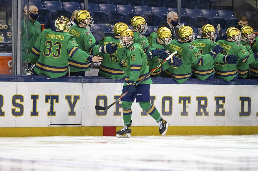 FIGHTING IRISH MEDIA Notre Dame was forced to withdraw from the NCAA men's hockey tournament because of COVID-19 protocols.