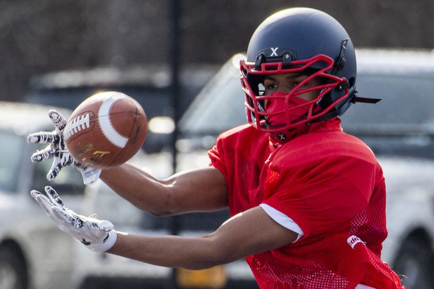 Schenectady senior captain Denzere Woolcock makes a reception during practice Tuesday at Schenectady's Larry Mulvaney Field.