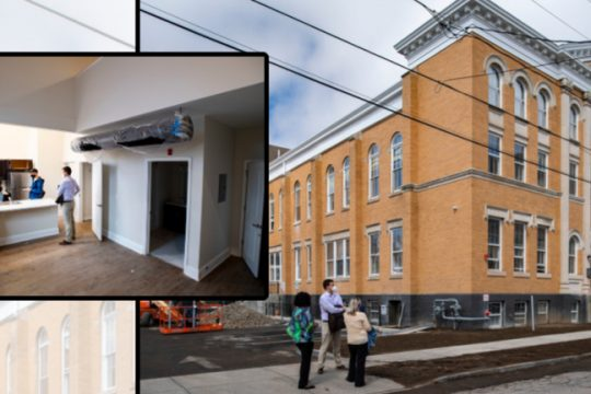 The former St. Mary's School, now converted to a 25-unit apartment house, is shown Thursday. Inset:Jessica Shellhamer, left, Nichole Davis, Ray Gillen, and David Hogenkamp take a tour of on the of an apartment