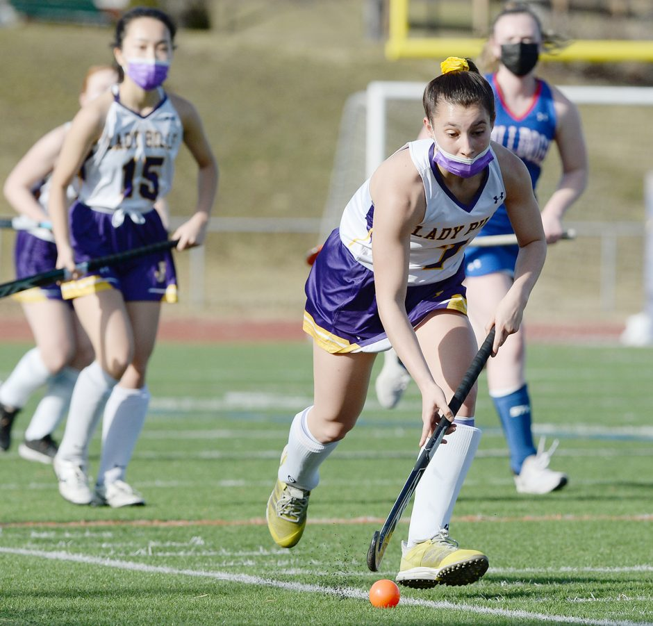Johnstown's Kalena Eaton with the ball against South Glens Falls during Thursday's Foothills Council field hockey game at Knox Field.