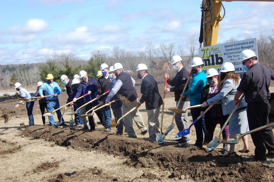 Montgomery County officials break ground on the county's new SharedServices Facility Thursday at the Glen Canal View Business Park onRoute 5S in Fultonville.