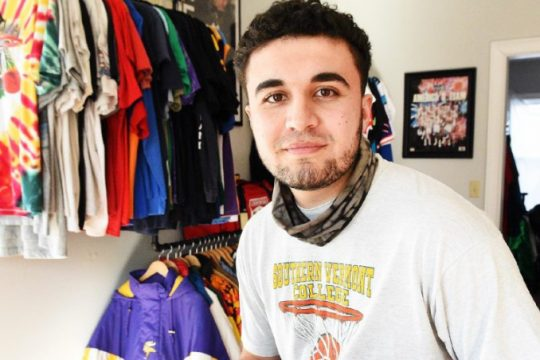 Noah Chani is pictured inside his new store at 30 Beekman St. in Saratoga Springs, where he will be selling his vintage clothing. The store is set to open soon.