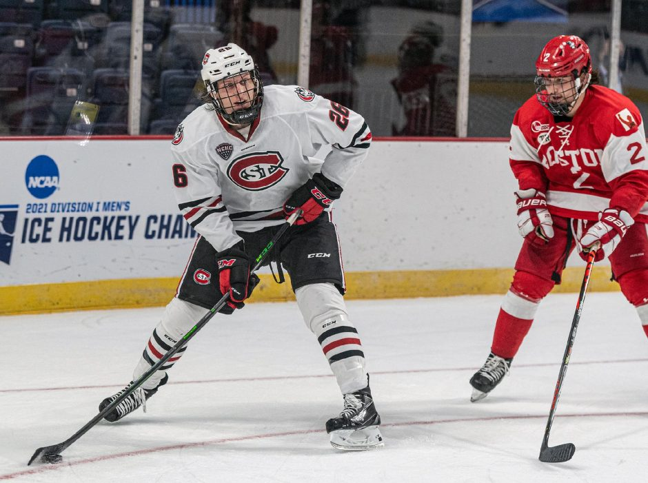 St. Cloud State senior left winger Easton Brodzinski scored twice in the Huskies' 6-2 victory over Boston University in Saturday's NCAA Men's Hockey Tournament Northeast Regional semifinal game at Times Union Center.