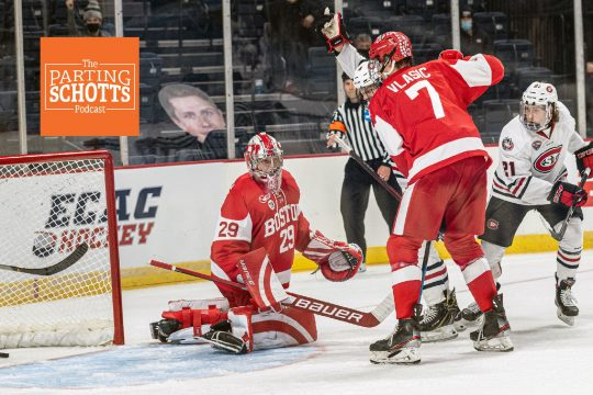 St. Cloud State beat Boston University 6-2 in the NCAA men's hockey tournament Northeast Regional semifinal Saturday at Times Union Center.