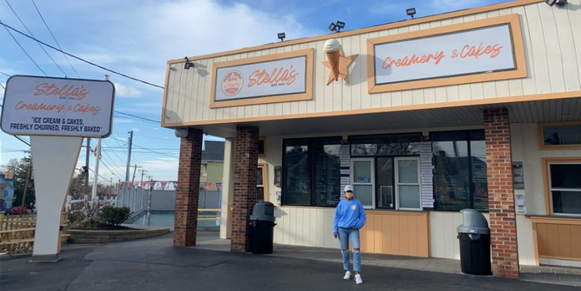 Owner Ashley Viscariello outside of the new Stella's Creamery & Cakes