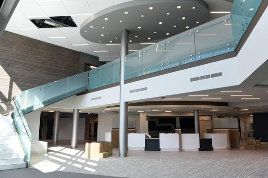 The main entrance and central registration area is shown Monday at the new Clifton Park facility that will house CDPHP and four specialty medical practices.