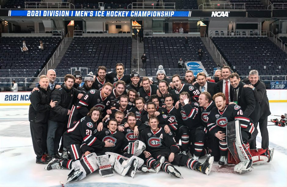 St. Cloud State poses for a picture after beating Boston College 4-1 in the NCAA men's hockey tournament championship game Sunday at Times Union Center. (Rob Simmons)
