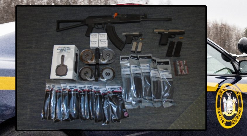 A picture released by the state police of the AK-47 and other items seized by troopers. Credit: State Police, background file
