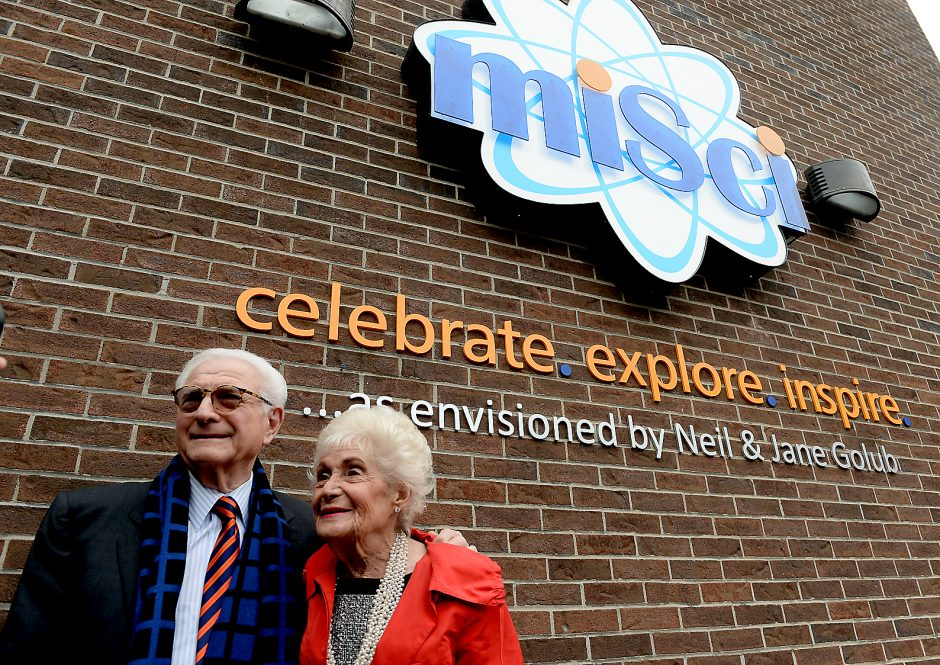 Jane and Neil Golub are pictured in front of miSci on Nov. 30, 2016. Jane Golub, who passed away on April 16, 2019, was a longtime championfor the museum. (Gazette file photo)