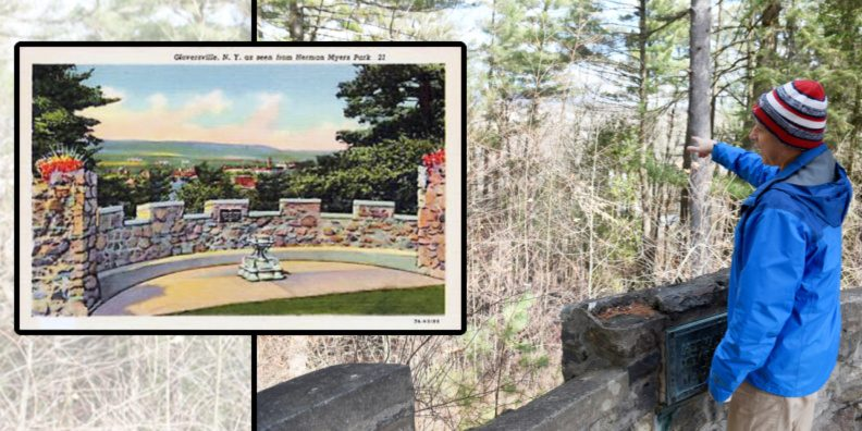 Gloversville Director of DPW and Arborist Chris Perry stands pointing at trees that will be cut down revealing the original view of downtown Gloversville Meyers Park overlook in Gloversville on Monday. ERICA MILLER Left: An old postcard depicting the view. Provided