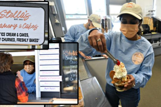 Stella's co-owner Ashley Viscariello puts the finishing touch on a Stroop Waffle Sundae and greets customers Monday in Schenectady