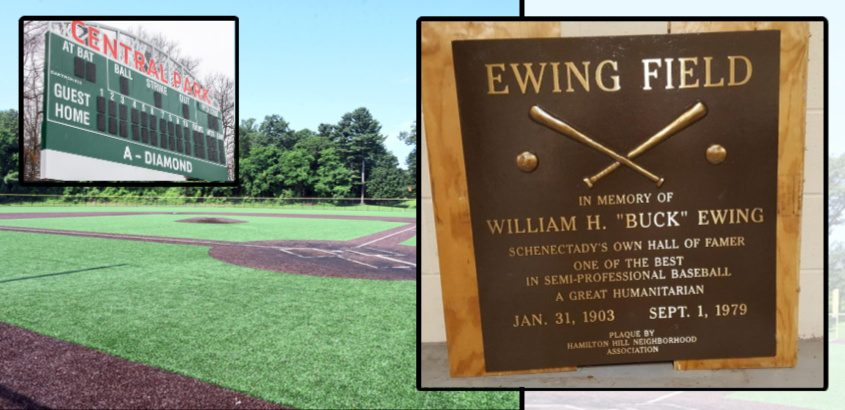 The plaque that will go up at the field, with the field and the scoreboard as it appeared earlier in March. File Photos and Provided (plaque)