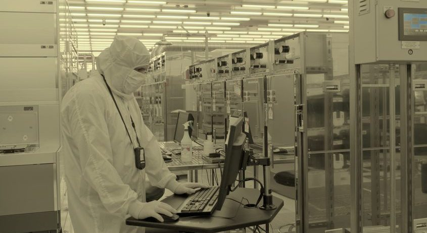 A scientist works at IBM's Albany research facility.
