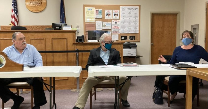 From left: Town of Amsterdam Supervisor Thomas DiMezza,Town Attorney Charles Schwartz and Town Board member Mary Maines are shown during the meeting Wednesday.