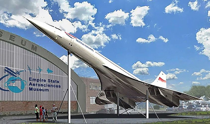 An artist's rendering of the planned Concorde replica installation in front of the Empire State Aerosciences Museum in Glenville. (Courtesy ESAM)