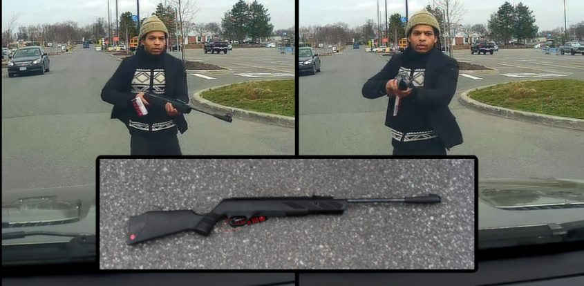 Civilian dash cam images released by police of the suspect and a photo of the pellet gun - Colonie Police Department