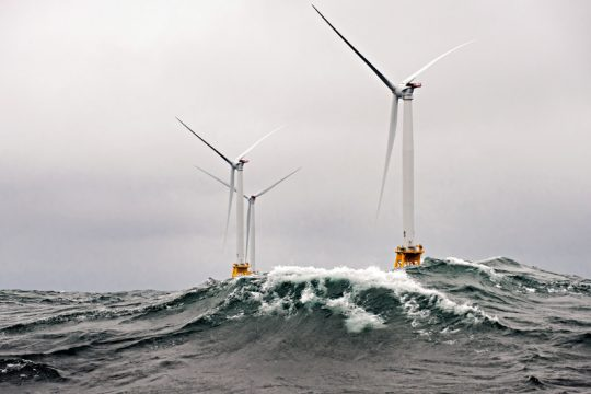 NATIONAL RENEWABLE ENERGY LABHeavy seas churn around the Block Island Wind Farm in 2016. Each of the towers is topped with at 6-megawatt General Electric turbine.
