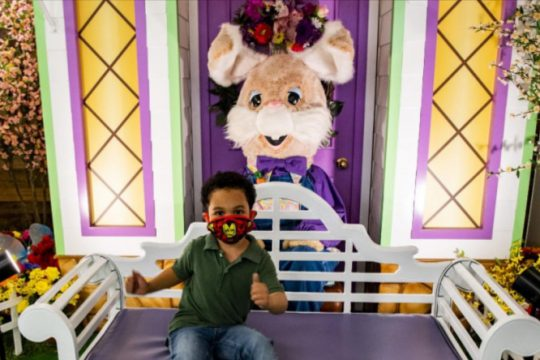 Jaelon Williams, 5, of Schenectady gives a thumbs up while having his picture taken with the Easter Bunny in Crossgates Mall Wednesday