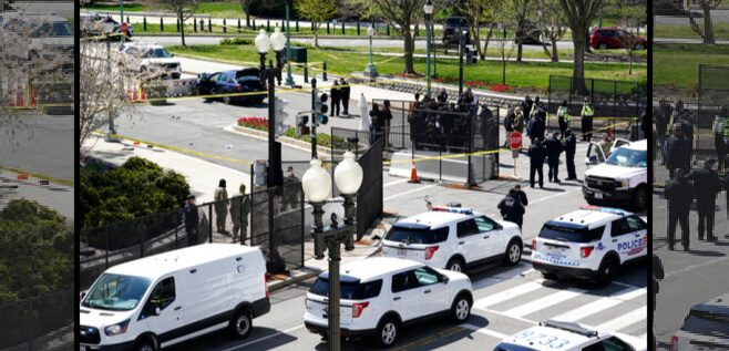 Police officers gather near a car that crashed into a barrier on Capitol Hill in Washington, Friday