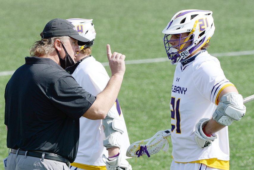 ERICA MILLER/THE DAILY GAZETTE Head coach Scott Marr's UAlbany men's lacrosse team plays UMass Lowell at home on Saturday.