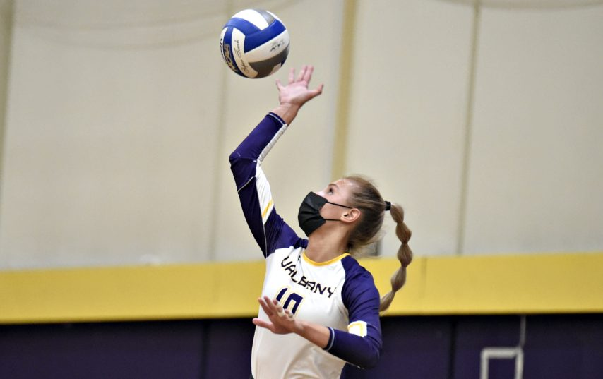 UAlbany's Hannah Rowe is shown during Friday's America East championship match. (Kathleen Helman/UAlbany Athletics)