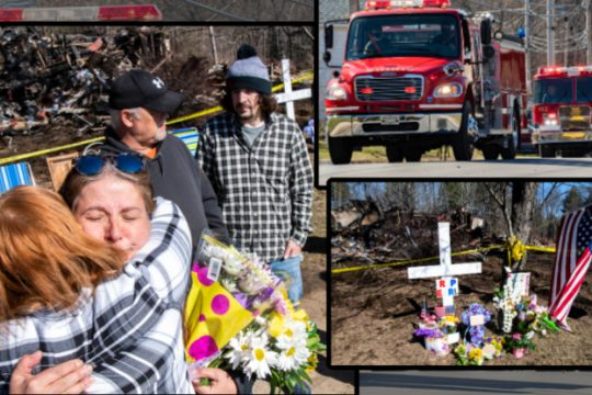 Earl Hare's niece Carole Madden hugs a supporter Saturday in front of the home where he died, left; Part of the procession, top right; A memorial in front of the fire scene.