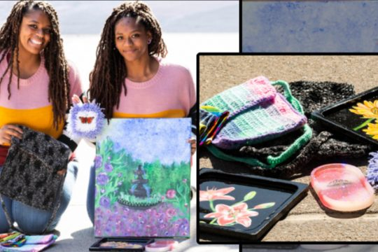 Alicia, left, and Amber Robinson, who run Dizy Artisans on Etsy, with some of their homemade art.