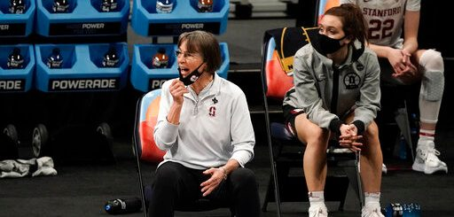 Stanford head coach Tara VanDerveer watches from the bench during the first half Sunday night