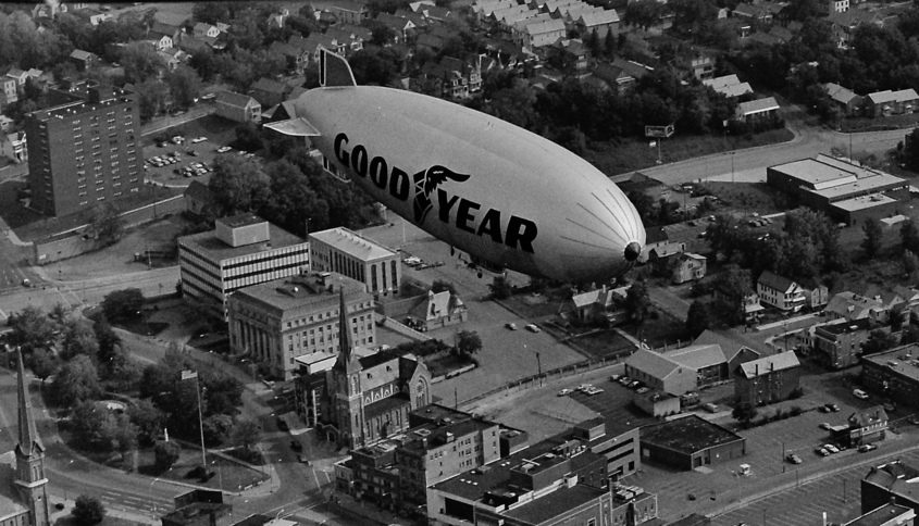 The blimp over Schenectady Aug. 1, 1982. Visible is St. Joseph's Church, the Schenectady County Courthouse and no Schenectady County Jail (Current version built later).