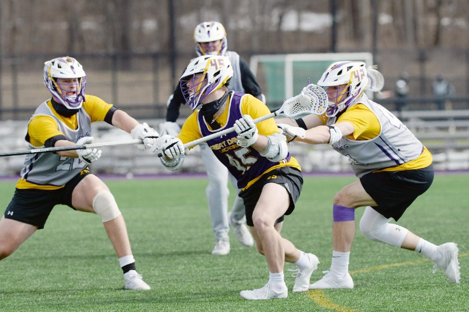 UAlbany men's lacrosse's Graydon Hogg, with the ball during practice in early March, was named America East Offensive Player of the Week.
