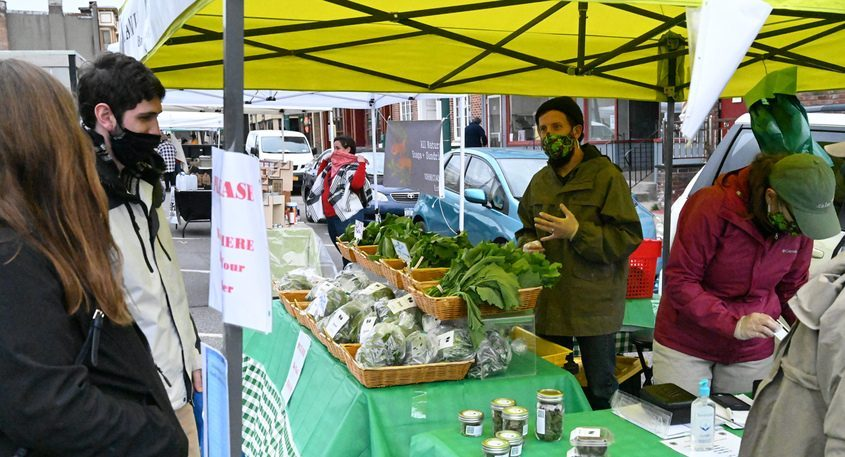 The Schenectady Greenmarket opened in front of Schenectady City Hall on Jay Street in April 2020