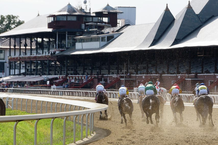 Horses run past the empty grandstand during the last race of the 2020 Saratoga Race Course meet on Sept. 7.